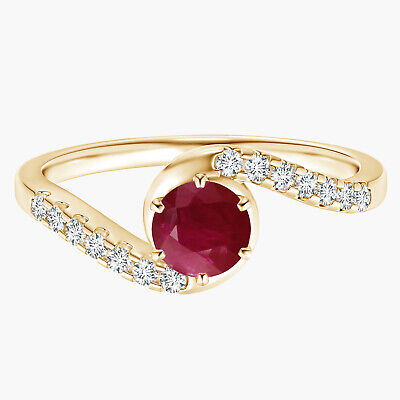 AU326.57 • Buy Solitaire Ruby Bypass Ring With Simulated Diamond 9K Yellow Gold