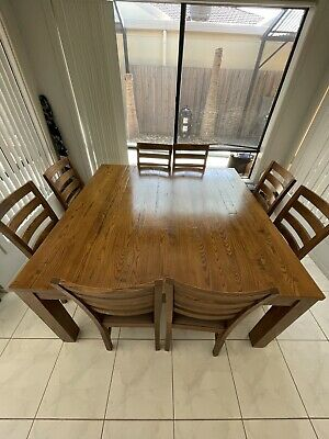AU360 • Buy Solid Oak Dining Room Table 8 Seats - Good Condition