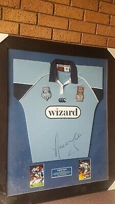 AU375 • Buy NSW Blues State Of Origin Framed Jersey Signed By Immortal Andrew Johns