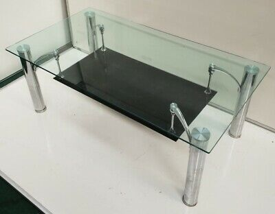 Beautiful Modern Two Tier Glass & Chrome Legs Coffee Table • 14.99£