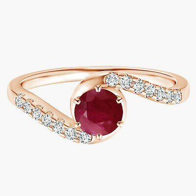 AU326.57 • Buy Solitaire Ruby Bypass Ring With Simulated Diamond 9k Rose Gold