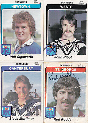 AU20 • Buy 1980 Scanlens Rugby League Card Singles (4 Various Cards Hand Signed)