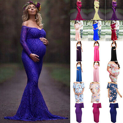 AU25.19 • Buy Womens Maternity Long Dress Comfy Photography Props Pregnant Gown Lace Dress New
