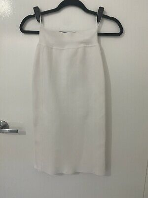 AU100 • Buy Scanlan Theodore White Crepe Knit Tuxedo Skirt Size XS
