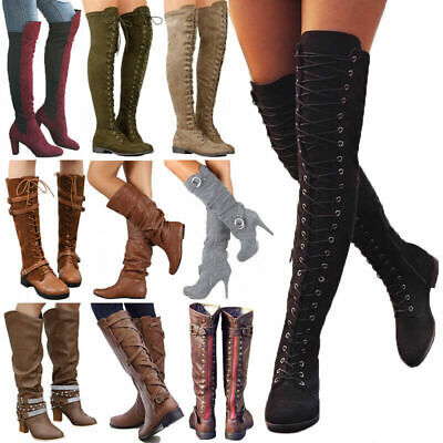 Women's Thigh High Over The Knee Boots Block Heel Stretch Lace Up Party Shoes • 21.59£