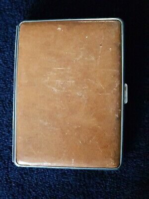 Tan Leather Vintage Cigarette Case With Map Of Germany Souvenir See Photos • 0.99£