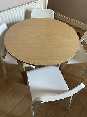 Round Dining Table And 4 White Ikea Chairs • 40£