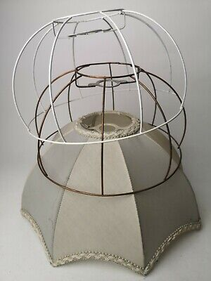 Vintage Ceiling Metal Wire Dome Lampshade Frame X 2 & Scalloped To Up Cycle • 5.50£