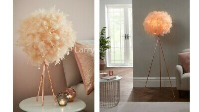 £39.99 • Buy Feathered Shade Rose Gold Tripod Legs Blush Corner Lamp Bedside Table Modern