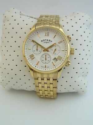 Rotary Mens Watch Gb00646/70 Chronograph Gold Stainless Steel Bracelet Genuine • 49.99£