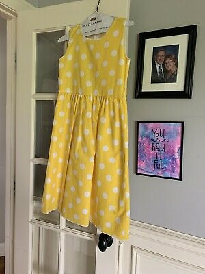 Kid Fashion Girls Yellow Polkadot Dress Size 8 Worn Once For Easter • 2.89£