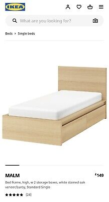Ikea Malm Single Bed With Drawers And Slatted Bed Base • 50£