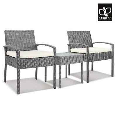 AU144.50 • Buy Gardeon 3 Piece Wicker Outdoor Lounge Setting Patio Furniture Rattan Set Garden