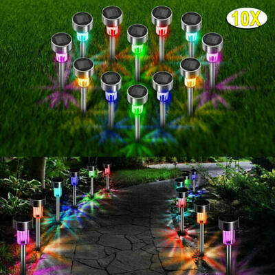 Pack Of 10 Stainless Steel Solar Powered Colour Changing Led Garden Patio Lights • 10.69£