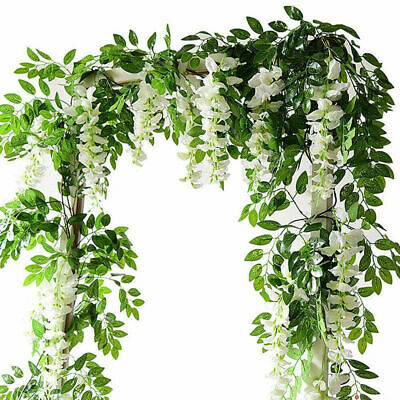 £6.99 • Buy  2X Artificial Wisteria Flower Vine Fake Flowers Ivy Plant Garland Green Leaves