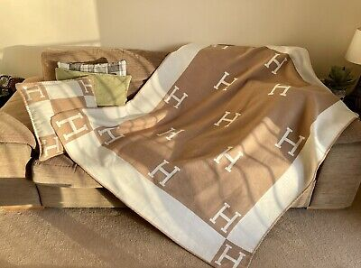 Turkish Cashmere Large H Blanket / Throw - Hermes Inspired - Perfect Gift Idea! • 52£