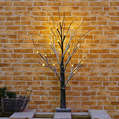 60cm Snowy Twig Tree With Light Pre-lit Table Top Decor Easter Halloween Tree UK • 12.99£