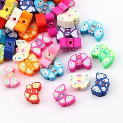 £2.96 • Buy Polymer Clay Beads Butterfly Shape 20 Pcs Mix Colour 10 Mm DIY Jewelry Making