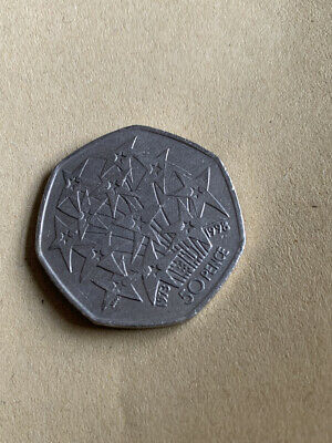 50p UK In EEC 25 Years 1998 EU Stars Fireworks Fifty Pence Coin -Circulated • 0.79£
