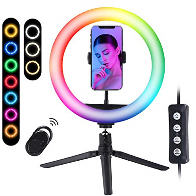 "RGB Selfie Ring Light With Tripod Stand & Phone Holder,10""LED Dimmable Camera 15 • 25.42£"