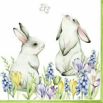 £1.35 • Buy 4 X Single Paper Table Napkin/3-Ply/Decoupage/Easter/Bunnies In Spring