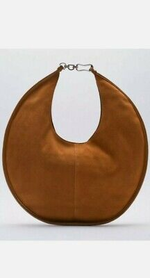 BNWT ZARA Tan Suede Leather Large Oval Chain Strap Shoulder Hand Bag • 49.99£