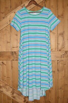 LuLaRoe Women's Size Medium Carly High-Low Dress Striped Pattern Gently Used • 5.79£