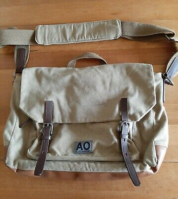Ally Capellino Tan Messenger Bag. Canvas & Leather. Laptop Padded Pouch. • 19.50£