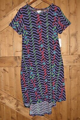 LuLaRoe Carly Women's Size Large High-Low Hemline Swing Dress Vibran Pattern NWT • 13.47£