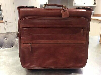 Ashwood Mens Brown Leather Large Suit Carrier With Wheels And Overnight Pockets • 95£