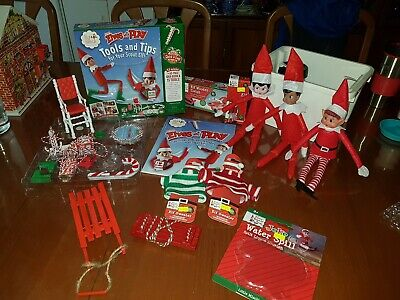 AU55 • Buy Elf On The Shelf- 3 Dolls, Tools & Tips, Wayer Spill, Jumpers, Sleigh, Swing