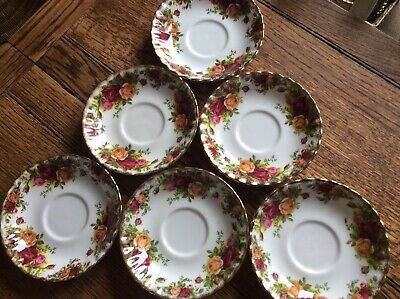 Set Of 6 Royal Albert  Old Country Roses  Bone China Tea Cup Saucers • 6£