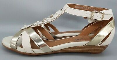 Ladies Clarks Bianca Shade Wedge Heeled Leather Sandals Size 6D • 13.99£