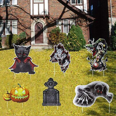 $ CDN31.23 • Buy Halloween Decorations Scary Wolf/Cat/Ghost Yard Stakes Scary Theme For Yard Lawn