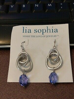 $ CDN6.33 • Buy Lia Sophia Antique Silver Circles Dangle Earrings With Blue Beads, No Card