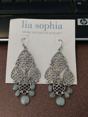 $ CDN8.25 • Buy Lia Sophia Silver Chandelier Style Dangle Earrings With Aqua Blue Beads