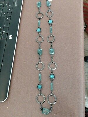 $ CDN10.14 • Buy Lia Sophia Gunmetal Colored Long Circles Necklace With Caribbean Blue Beads