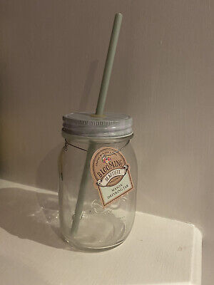 Glass Mason Jar With Lid And Straw • 3.50£