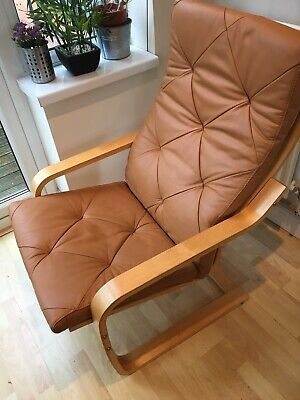 Rare IKEA Tan Leather Poang Chair Brown Suede Rocking Armchair Birch Frame • 2.20£