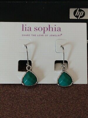 $ CDN6.94 • Buy Lia Sophia Silver Dangle Earrings With Green Stone