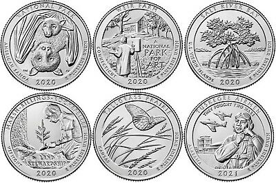AU12 • Buy 2020/21 US National Park Quarters Six Coins UNC Straight From The US Mint