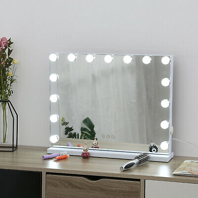 Mirror Vanity LED Light 15 Bulbs Makeup Dress-up Touch Control Dimmable Mirrors • 79.99£