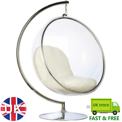 Stainless Steel Frame Hanging Bubble Chair With Stand Various Colours Cushions • 959.99£