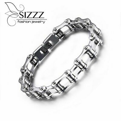 Fashion Bike Bracelet Men Biker Bicycle Motorcycle Chain Stainless Steel Silver • 13.05£