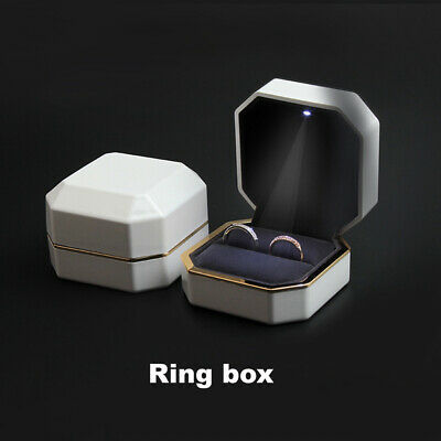 AU22.77 • Buy White Luxury LED Ring Box With Light Wedding Jewellery Display