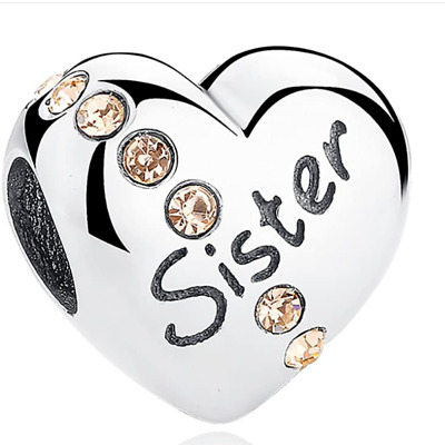 £10.19 • Buy PANDORA Heart Shaped Sister Charm Bead Inscribed SISTER S925 ALE Sterling Silver