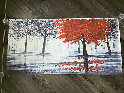 Canvas Print Blue Trees With 1 Red Tree 120cm X 60cm (Needs Framing) • 15£