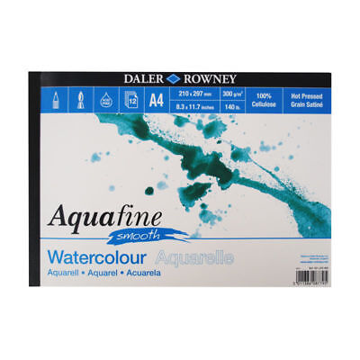 £6.95 • Buy Daler Rowney Aquafine Watercolour Pad Hot Pressed 140lb / 300gsm - A4 SMOOTH