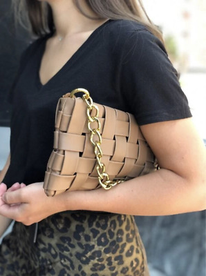 £22 • Buy Tan Brown, Woven Padded Faux Leather Clutch Crossbody Bag