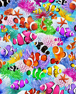 £7.99 • Buy SWIMMING CLOWN FISH By Timeless Treasures 100% Cotton Fabric OCEAN, SEALIFE